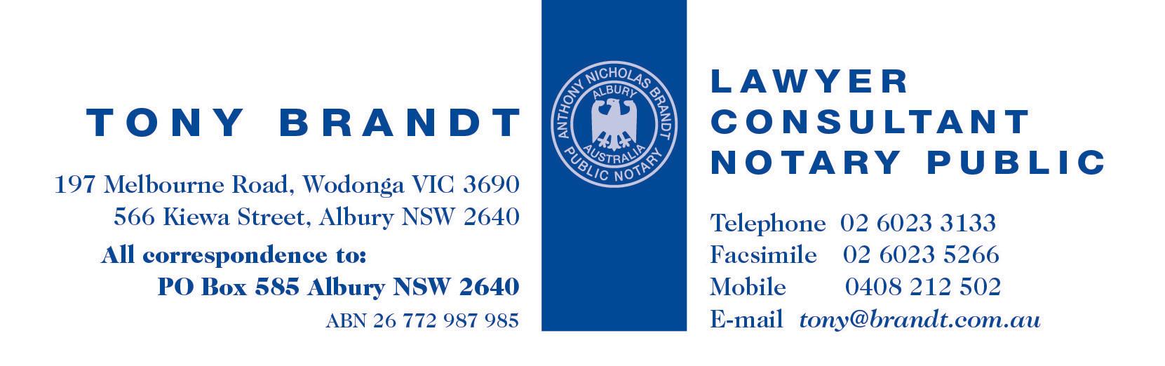 Tony Brandt Lawyer | Albury | Wodonga